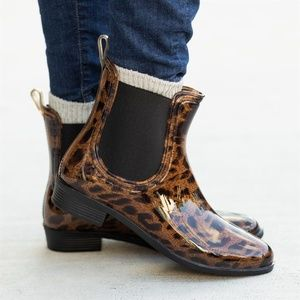 Leopard Waterproof Rain Boot Ankle Booties